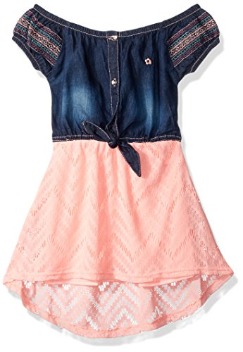 (Limited Too Girls' Little Casual Dress, Texture Stripe top with Stretch Denim Apricot, 4)