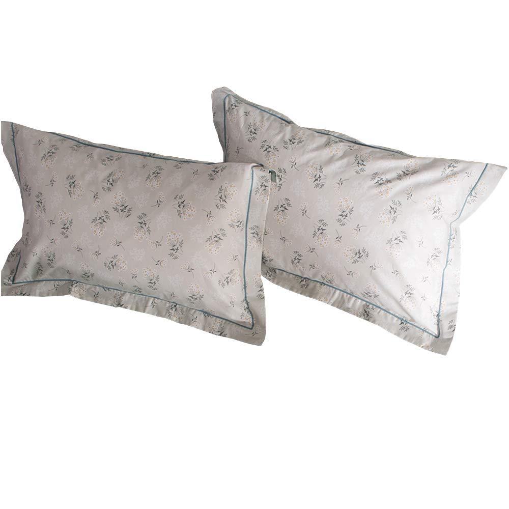 HIGHBUY 100% Cotton Floral Print Pillowcases Set (2pcs, 20''×26'') Kids Queen Decorative Pillow Cover,Set of 2,Standard,Envelope Closure (Standard Pillowcase, HBZT01-J)