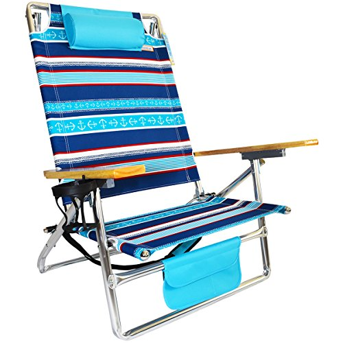 Titan Layflat Aluminum Folding Beach Chair - Naval Stripe by Copa Beach