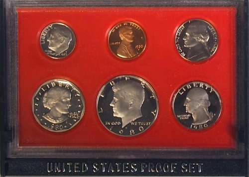 1980 Us Mint Proof 6 Coin Set Original Box