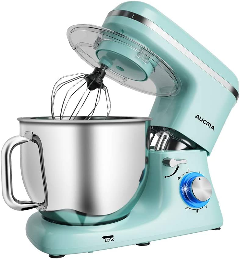 Aucma Stand Mixer,7.4QT 6-Speed Tilt-Head Food Mixer, Electric Kitchen Mixer with Dough Hook, Wire Whip & Beater