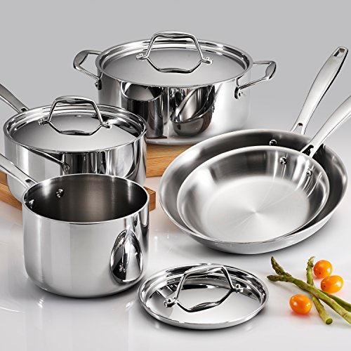 Tramontina 80116/247DS Gourmet 18/10 Stainless Steel Induction-Ready Tri-Ply Clad 8-Piece Cookware Set, by Tramontina (Image #1)