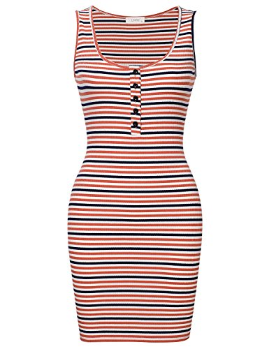 Lyoye Women's Slim Sleeveless Henley Neck Knit Stretchable Striped Print Tank Dress Pink L (Knit Mini Cocktail Sleeveless)