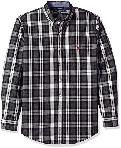 (U.S. Polo Assn. Men's Classic Fit Long Sleeve Plaid Sport Shirt, Heather Dark Gray, M)