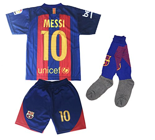 Hussain Tees Youth FC Barcelona Messi 10 Jersey/Shorts Football Soccer (Drifit) – DiZiSports Store