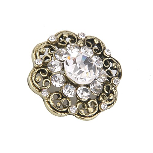 Broche Ancienne Blanc Strass Fantaisie Epingle Pin's Femme Bijoux A Mode