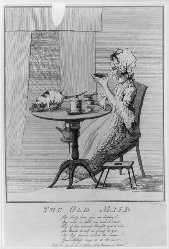 Photo: The Old Maid,British Cartoon,Woman alone at tea table,Cat lapping from Dish,1777