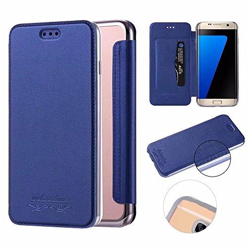 Galaxy S7 Edge Funda,QianYang PU Leather Cuero Cover para Samsung Galaxy S7 Edge Flip Case Magnético Función de Soporte Cuero Carcasa Chapado Cáscara-6
