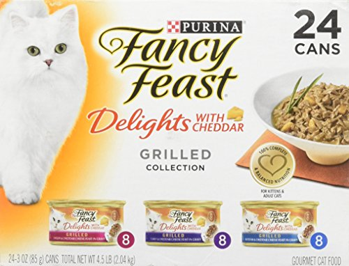 (Purina Fancy Feast Delights with Cheddar Grilled Gourmet Wet Cat Food - (24) 3 oz. Cans (Cheddar Grilled Varieties 1 Pack of 24))