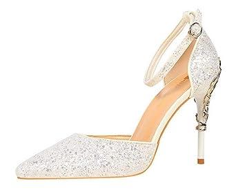 3e699be7635a Moontang Talons Hauts Sandales Femmes Mariée Satin Talons Hauts Escarpins  Sandales De Mariage Court Shoes Dress