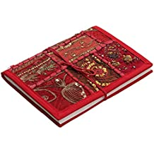 Red Cover Fabric Writing Journal - Clearance Sale Items - 6x8 Inch Hardcover Diary Featuring Hand-Embroideries and Sequin Work - Recycled Blank Handmade Page - Ethnic Sketchbook Notebook