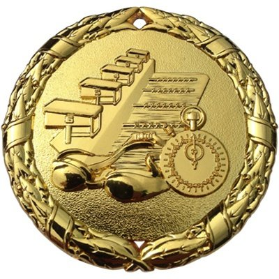 (Express Medals Swimming Medal Gold 2 inch with Neck Ribbon Award Trophy (1))