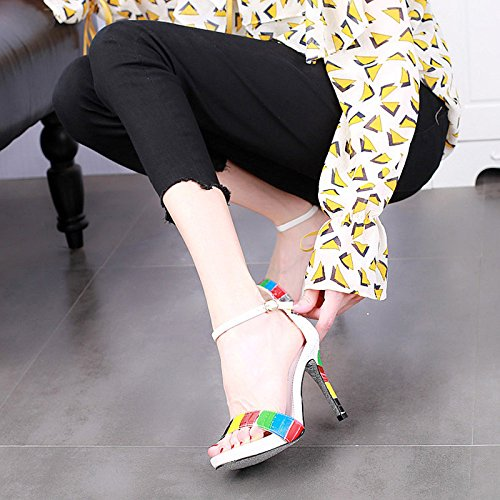 nuova 黑色 sexy alto signore tacco open stiletto Estate sandali YMFIE tacchi toe moda alti SC5q6OIw