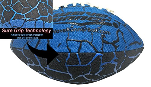 (Wave Runner Grip It Waterproof Football Size 9.25 inches with Sure Grip Technology Let's Play Football in The Water! (Blue))