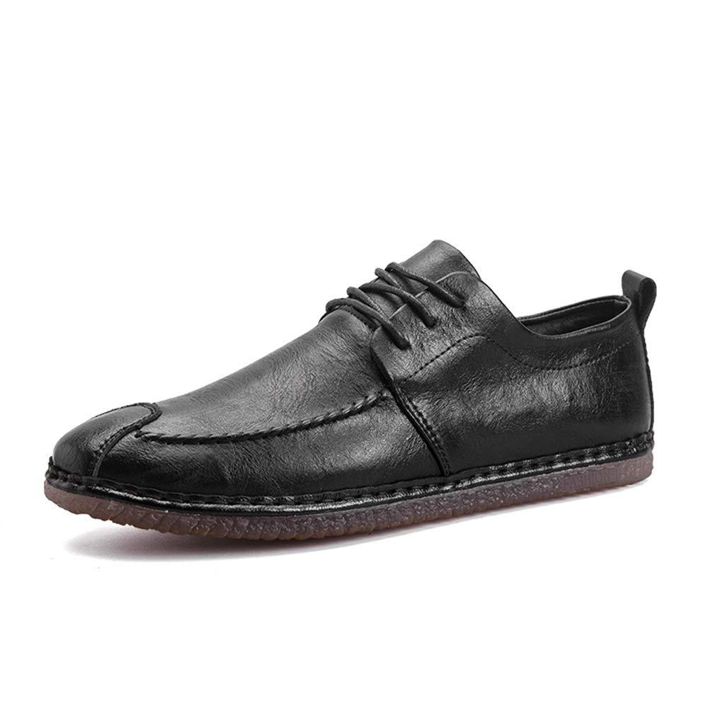 Hilotu Oxford Shoes for Men Formal Shoes Lace Up Style Microfiber Leather Lightweight Flexible British Style Working Shoes (Color : Black, Size : 8 M US)