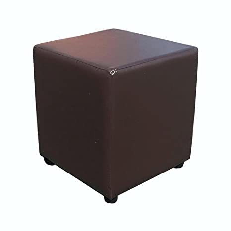 Excellent Cube Footstool 18 High In Brown Faux Leather Creativecarmelina Interior Chair Design Creativecarmelinacom