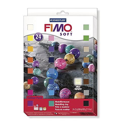 Staedtler Fimo Soft 8023 02 Oven Hardening Modelling Clay 24 Half Blocks Assorted Colours - Fimo Modeling Clay