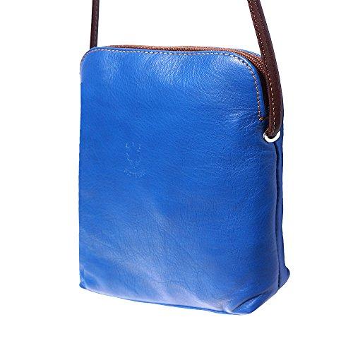 Cuero En Hombro Azul 8610 Suave marròn Mini Bolso De wAHIIq