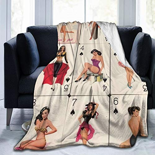 MASDUIH Flannel Blanket Play Card Pinup Girls Lightweight Cozy Bed Blanket Throw Blanket Fit Couch Sofa