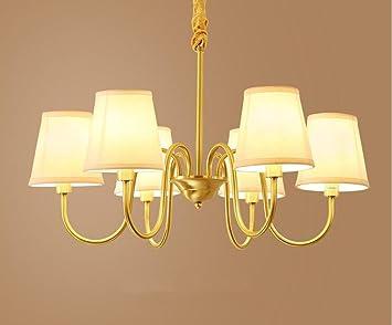 XIAOJIA American Bronze Kronleuchter, Wohnzimmer Licht, Europäische  Einfache Tuch Esszimmer Kronleuchter, Modern Dekoration