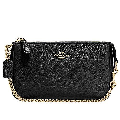 Coach Pebbled Black Leather Large Wristlet - Clutch 53340 - Black Pebbled