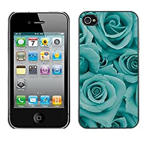Plastic Shell Protective Case Cover    Apple iPhone 4 / 4S    Flowers Floral Petal Teal @XPTECH