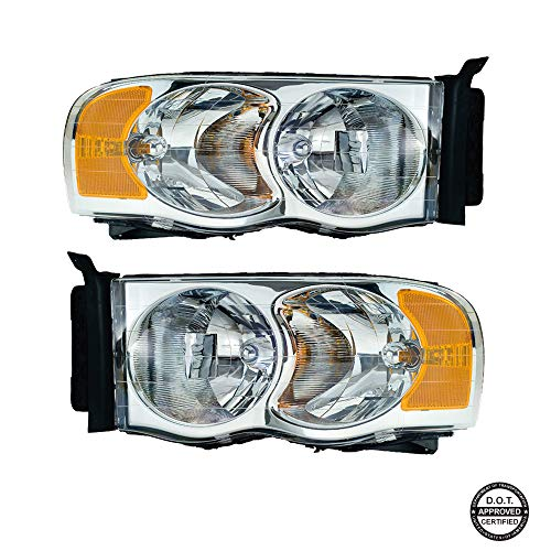 Replacement Headlight Assembly GDGPU02-A2 with Chromed Housing Amber Reflector Clear Lens for Dodge Ram 1500 2500 3500 Pickup Truck 2002-2005