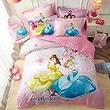 CASA 100% Cotton Kids Bedding Set Girls Princesses Cinderella Bella Duvet Cover Pillow Cases Fitted Sheet,4 Pieces,Queen