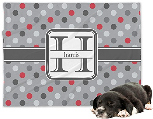 Red & Gray Polka Dots Minky Dog Blanket - Regular (Personalized)