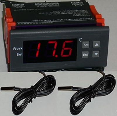 12V Differential Temperature Controller T2-T1 Thermostat Water Heater, Pool Solar Panel Pump 2 Sensors Fahrenheit Celsius