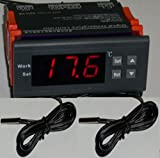 Differential Temperature Controller T2-T1 Thermostat Water Heater - Pool Solar Panel Pump 2 Sensors Fahrenheit Celsius