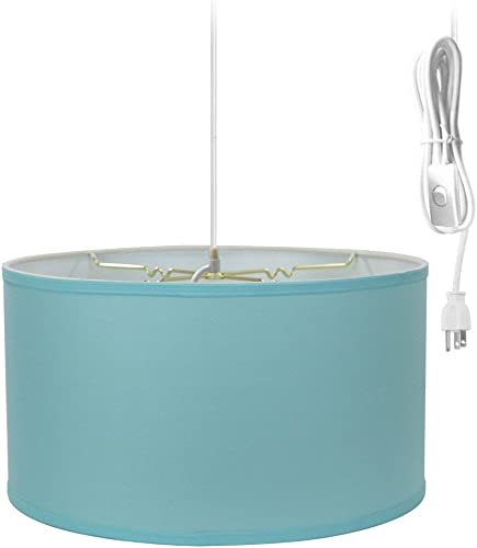 1 Light Swag Plug-in Pendant 18″w Island Paridise Blue Shade