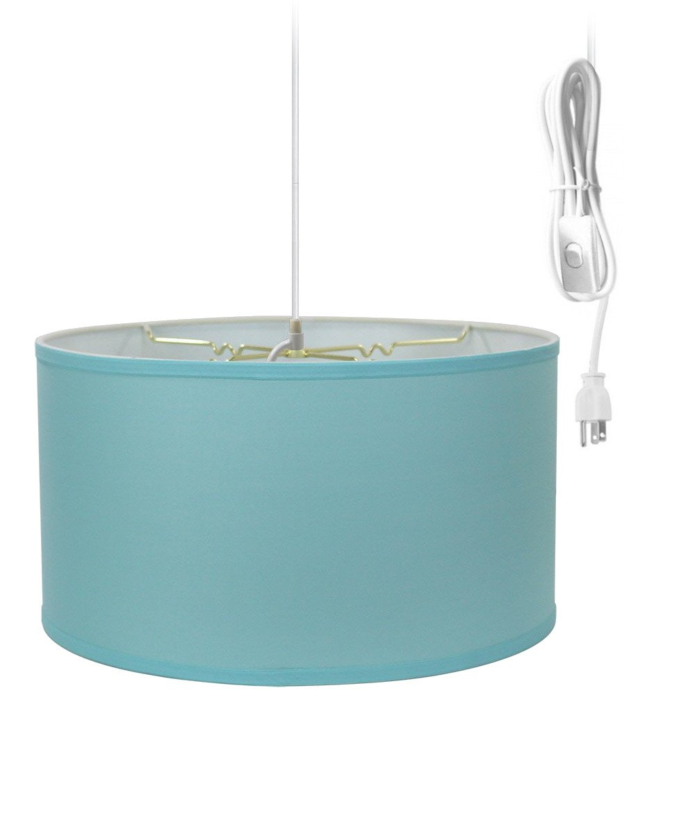 2 Light Plug-In Pendant Light By Home Concept - Hanging Swag Lamp Shallow Drum Island Paridise Blue with Diffuser - Perfect for apartments, dorms, no wiring needed (Blue, White two-light) by HomeConcept