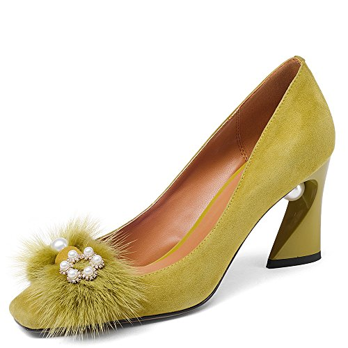 Nine Seven Suede Leather Women's Square Toe Chunky Heel Pearls Handmade Pumps Shoes with Fur (10.5, Yellow) by Nine Seven