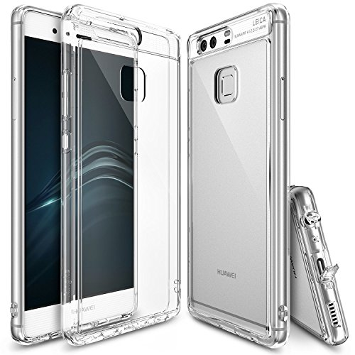 Ringke [Fusion] Compatible with Huawei P9 Crystal Clear PC Back TPU Bumper [Drop Protection, Shock Absorption Technology][Attached Dust Cap] Protective Cover Huawei P9 Case- Clear