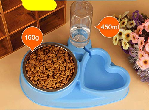 Popowbe Double Pet Bowls Stainless Steel Dog Bowl with No Spill Skidstop Silicone Mat Dog Cat Food Water Feeder with…