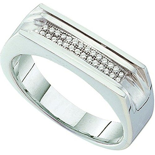 0.10 Carat (ctw) 10K White Gold White Diamond Men's Hip Hop Micro Pave Band Ring by DazzlingRock Collection