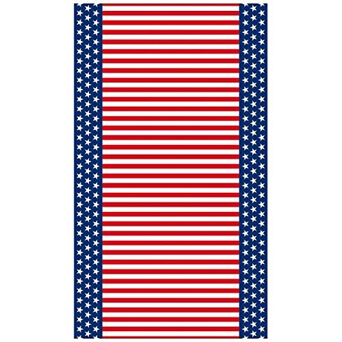 Amscan Stars and Stripe Flannel-Backed Patriotic 4th of July Party Table Cover Reusable Tableware, Vinyl, 52 x 90 (Two-Pack)