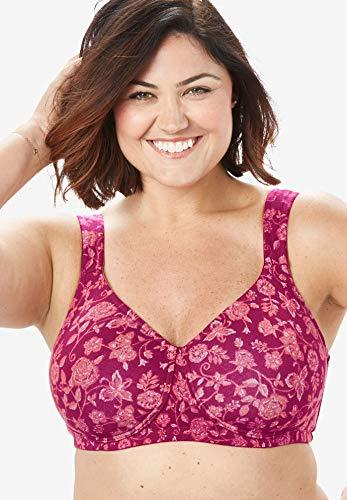 Comfort Choice Womens Plus Size Cotton Wireless T-Shirt Bra