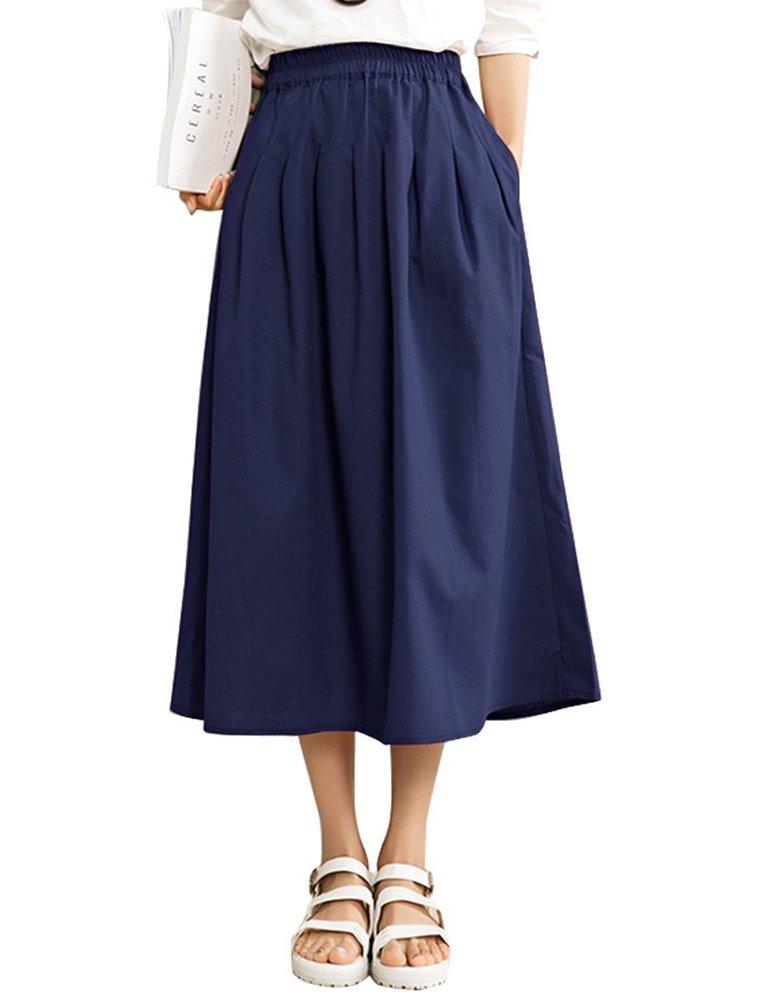 IDEALSANXUN Women's Spring/Summer Cotton Linen Midi A-line Skirt with Pocket (#2 Navy Blue, Medium)