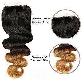 FeiBin Hair 4″x4″ Ombre Brazilian Body Wave Lace Closure Bleached Knots 100% Virgin Human Hair Free Part Closure Color 1B/4/27 (10 Inch)