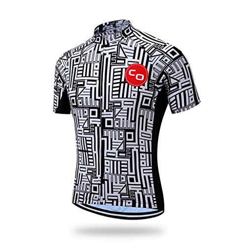 Coconut Polyester Breathable Short Sleeve Cycling Jersey (Medium, White&Black maze)