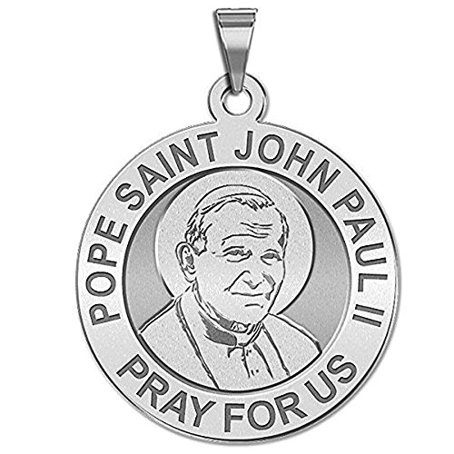 Paul Medals Pope John Ii (Pope Saint John Paul II Religious Medal - 3/4 Inch Size of a Nickel -Sterling Silver)