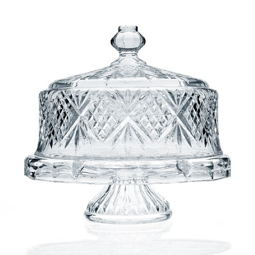 Crystal Cake Platter - Godinger Dublin Crystal Cake Plate with Dome Cover