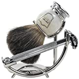 Parker 29L Safety Razor Shave Set - Includes Black Badger Brush, Stand...