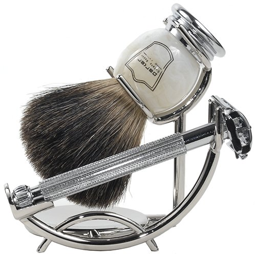 Parker 29L Safety Razor Shave Set - Includes Black Badger Brush, Stand & Parker 29L Butterfly Open Safety Razor