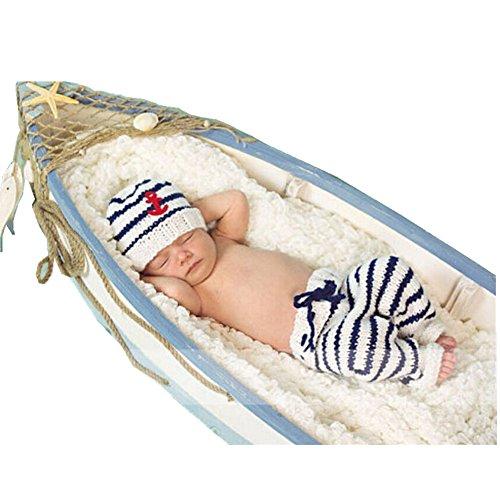 [Auberllus Newborn Baby Photo Props Boy Girl Crochet Knit Sailor Hat Pants Photography Shoot Outfits Costume] (Nice Sailor Costumes)