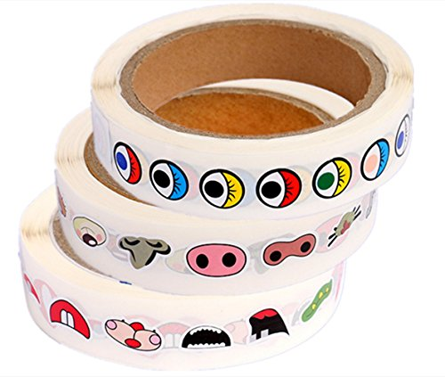 FU-FU 1000 pcs Eye stickers & 1000 pcs Nose stickers & 1000 pcs Lip stickers,Pack Assorted Designs on a Roll for Children's Craft Projects (colour eye) by FU-FU