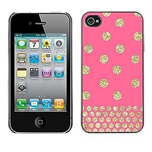 FECELL CITY // Duro Aluminio Pegatina PC Caso decorativo Funda Carcasa de Protección para Apple Iphone 4 / 4S // Polka Dot Gold Pink Glitter Yellow Pattern