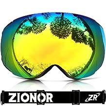 IceHacker Lagopus X6 Ski Goggles, Snowboard Snowmobile Snow Goggles with UV400 Protection Anti-fog Spherical Frameless Oversize Dual Lenses Goggles